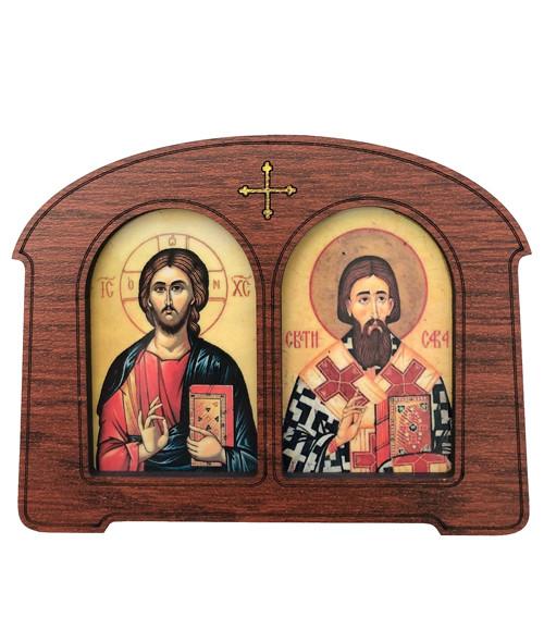 Framed Magnet: Christ & St. Sava
