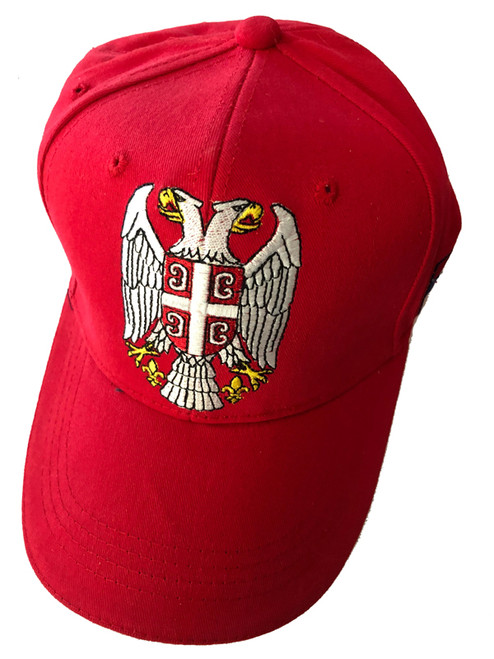 Embroidered Serbian Eagle Baseball Cap: Double Headed Eagle- Red