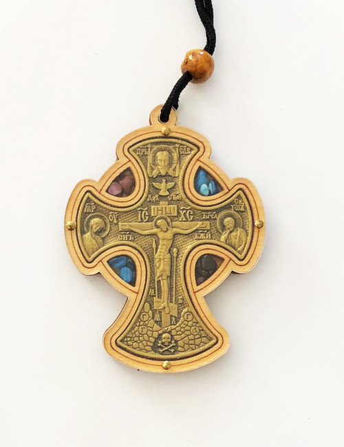 Wooden Jewel-Accented Hanging Car Cross