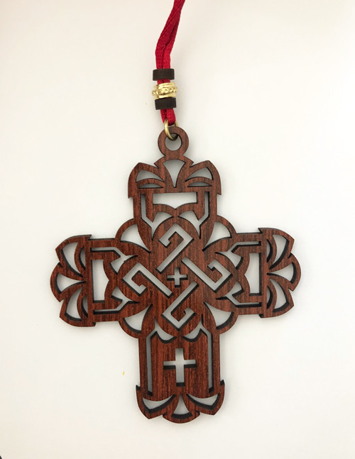 Ornate Acrylic Hanging Car Cross