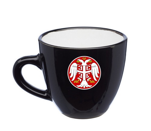 Serbian Coat of Arms Espresso Cups: Set of 4- Black