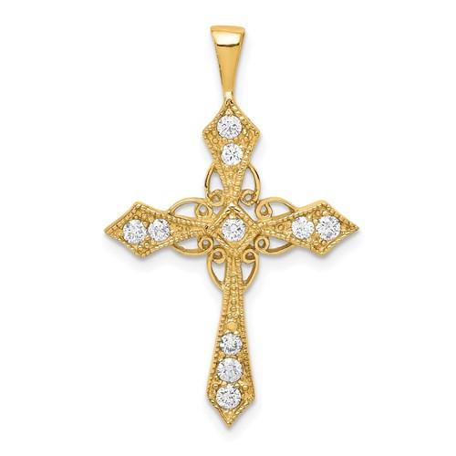 "14KY Diamond Cross Passion Pendant  1 1/8"""