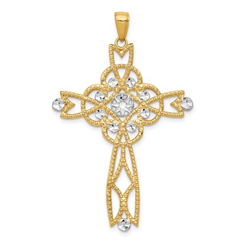 14KT with Rhodium Diamond-cut Beaded Trim Infinity Cross Pendant