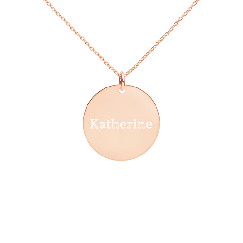Engraved Round Nameplate Necklace- Multiple Metals Available