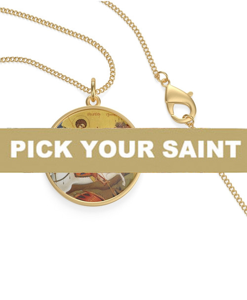 Pick-Your-Saint Icon Pendant with Chain- Sterling Silver or 18KT Gold