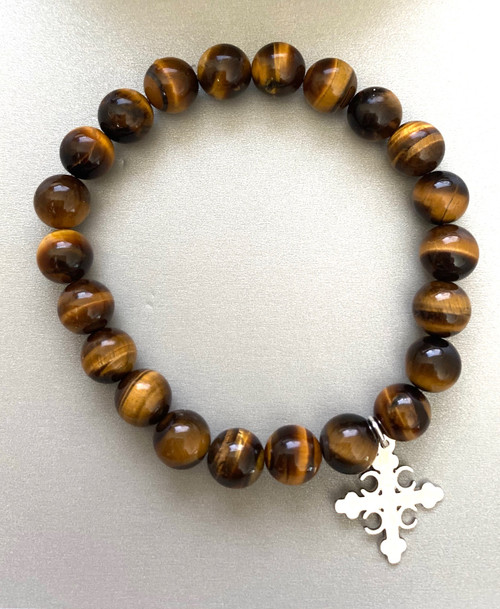 22 Bead Prayer Rope: Tiger Eye with Serbian 4C's Cross