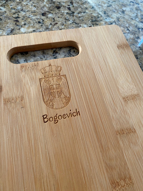 Personalized Serbian Grb Bamboo Cutting Board- IN ANY LANGUAGE