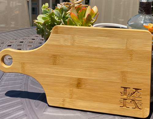 "Personalized Monogram 13 1/2"" x 7"" Bamboo Cutting Board"