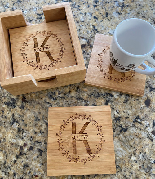 Personalized Monogram Bamboo Coasters- IN ANY LANGUAGE