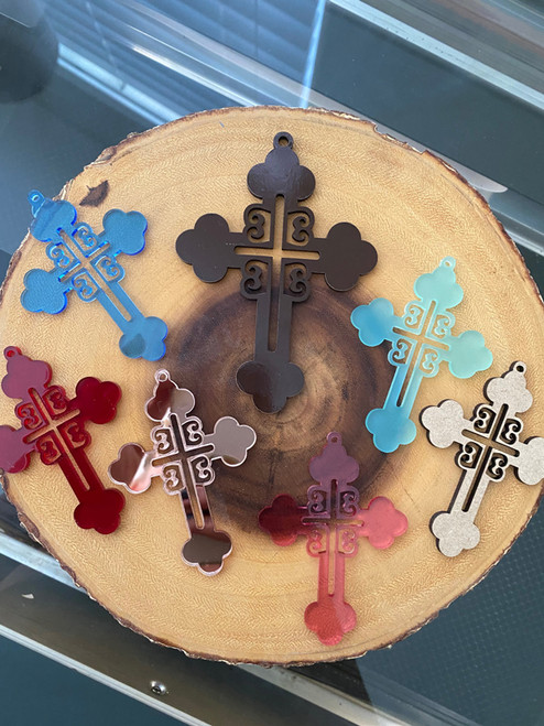 Serbian 4 Cs's Acrylic Orthodox Hanging Car Cross- Multiple Colors