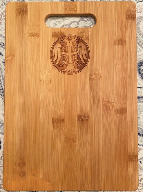 Serbian Crest Bamboo Cutting Board