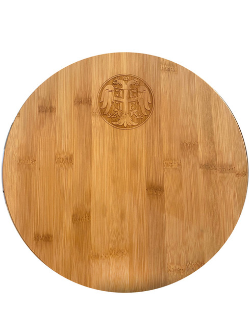 "Serbian Crest 11 3/4"" Round Bamboo Cutting Board"