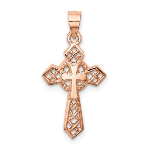 "14K Rose Polished Cross Pendant- 1"""