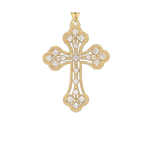 14KT Yellow Gold Milgrain Cross with CZ Accents
