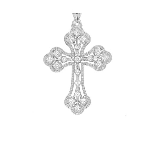 14KT White Gold Milgrain Cross with CZ Accents