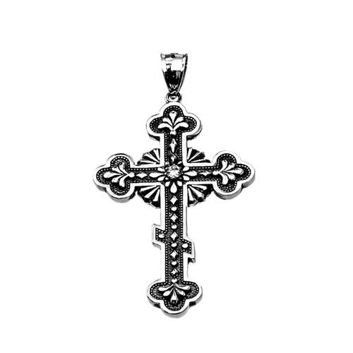 Sterling Silver Vintage Antique Look Russian Orthodox Cross Pendant with CZ Stone