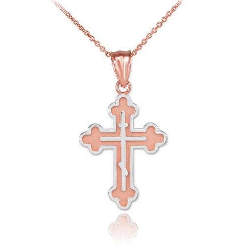 "Two-Tone 14KT Rose Gold & Rhodium Orthodox Cross-  1 1/4"""