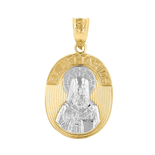 Two Tone 14K Gold St. Nectarios of Aegina Pendant