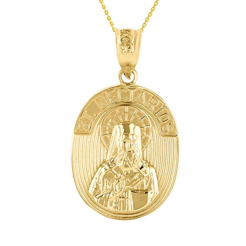 14KT Yellow Gold St. Nectarios of Aegina Pendant