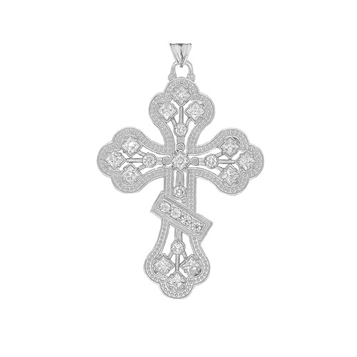 14KT White Gold Milgrain 3-Bar Cross with CZ Accents