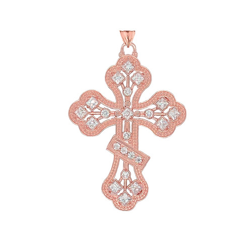 14KT Rose Gold Milgrain 3-Bar Cross with CZ Accents