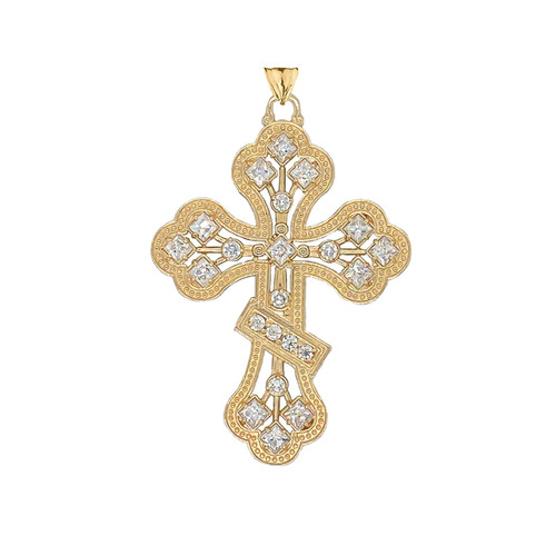 14KT Yellow Gold Milgrain 3-Bar Cross with CZ Accents