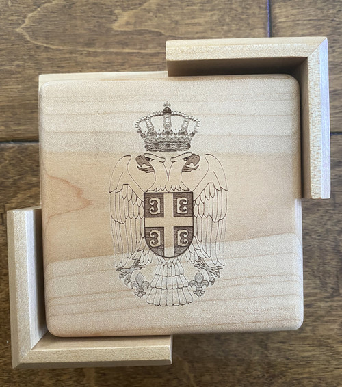 Serbian Crest Maple Wood Coaster Set