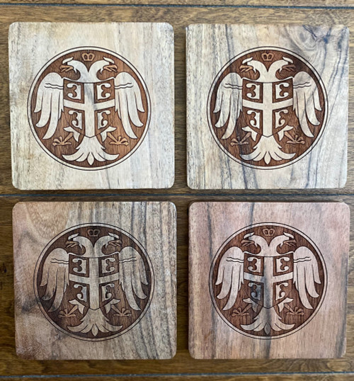 Serbian Coat of Arms Wooden Coaster Set
