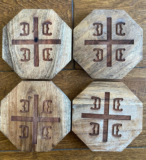 Serbian 4 C's Wooden Coaster Set- Hexagon Shape