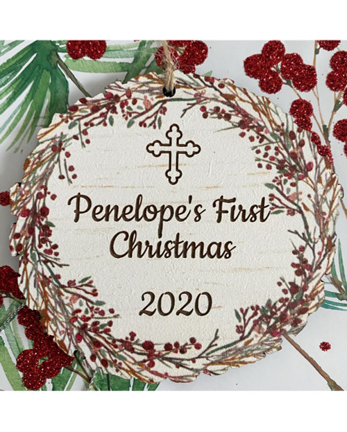 Orthodox Cross 2020 + Custom Text Christmas Ornament- PERSONALIZED