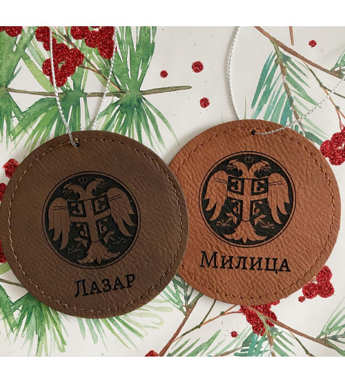 Serbian Crest Leather Ornament- PERSONALIZED