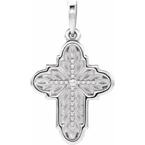 14K White Ornate Leaf-Inspired Cross Pendant