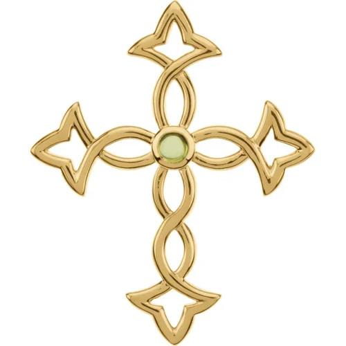"14K Yellow Gold & Genuine Peridot Cross Pendant- 1 3/4"""