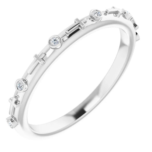 14K White Gold & Genuine .03 CTW Diamond Cross Ring