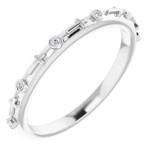 14K White Gold & Genuine .03 CTW Diamond Cross Ring