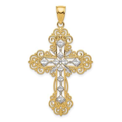 10KT and Rhodium Polished & Textured Diamond Pattern Cross Pendant- 1 1/2""
