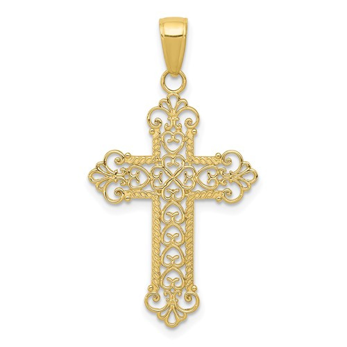 10KT Royal Swirl Cross- 1 1/8""