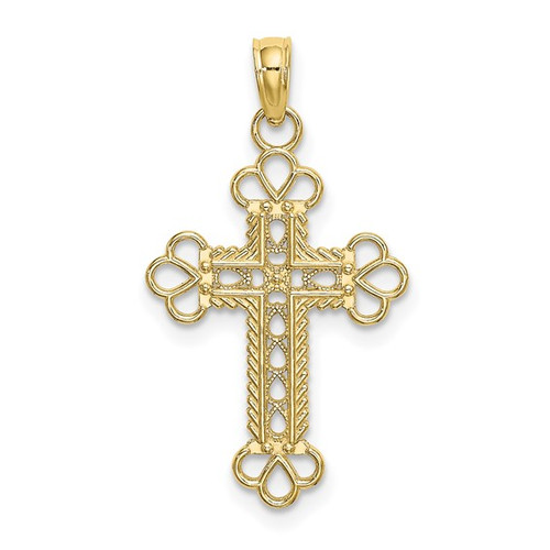10K Textured and Cut-Out with Rope Frame Block Cross Charm