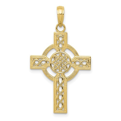 10KT Diamond-Cut Celtic Cross Pendant