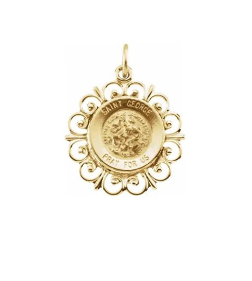 14KT St. George Round Medallion (Fancy): ON SALE