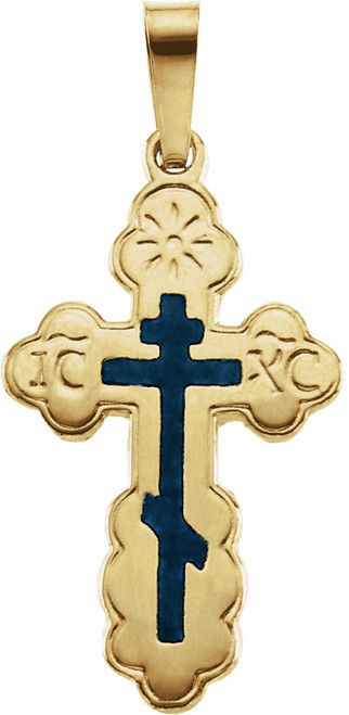 14KT St. Olga Style Cross with Blue Enamel (Inscribed)- XLarge- FREE 2DAY SHIPPING!*