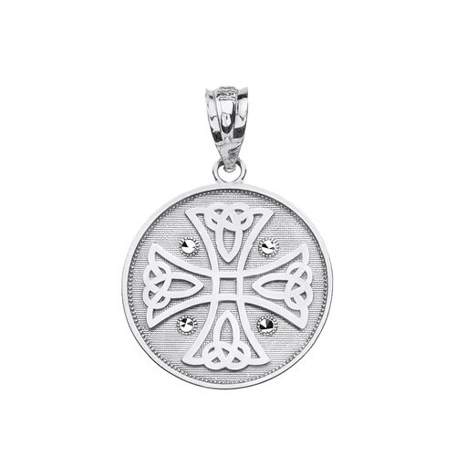 14K White Gold Diamond Cut Celtic Knot Cross Pendant