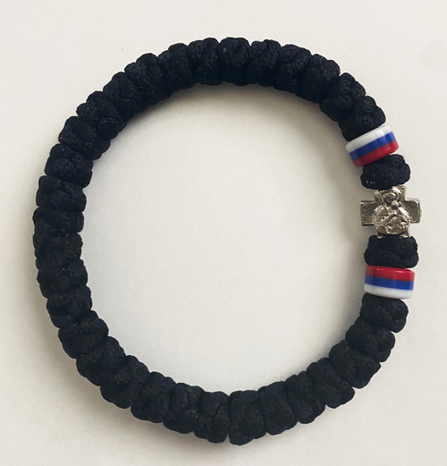 33 Knot Prayer Rope Serbian with Flag Bead- Black