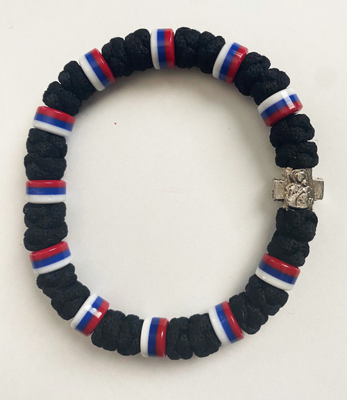 33 Knot Prayer Rope Serbian with Multiple Flag Beads- Black