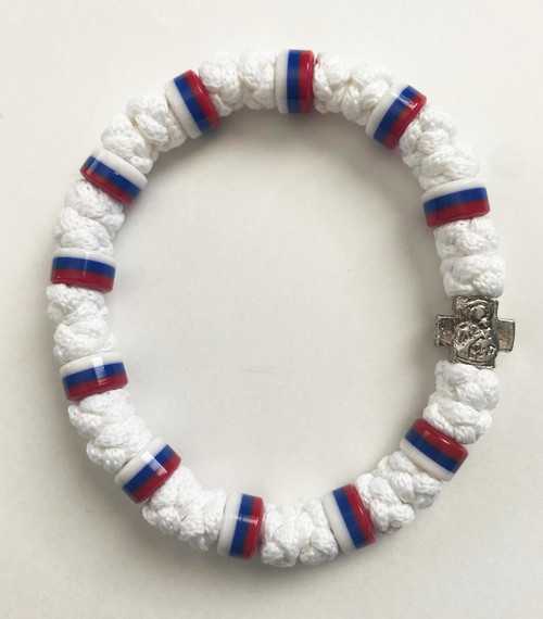 33 Knot Prayer Rope Serbian with Multiple Flag Beads- White