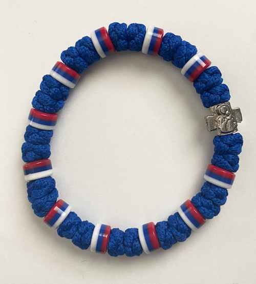 33 Knot Prayer Rope Serbian with Multiple Flag Beads- Blue