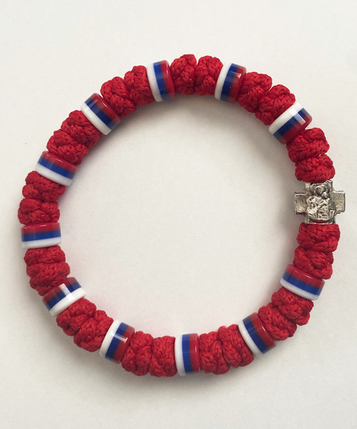 33 Knot Prayer Rope Serbian with Multiple Flag Beads- Red