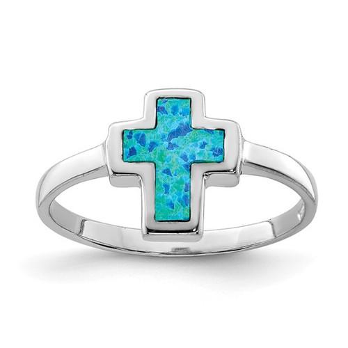 Sterling Silver Opal Cross Ring