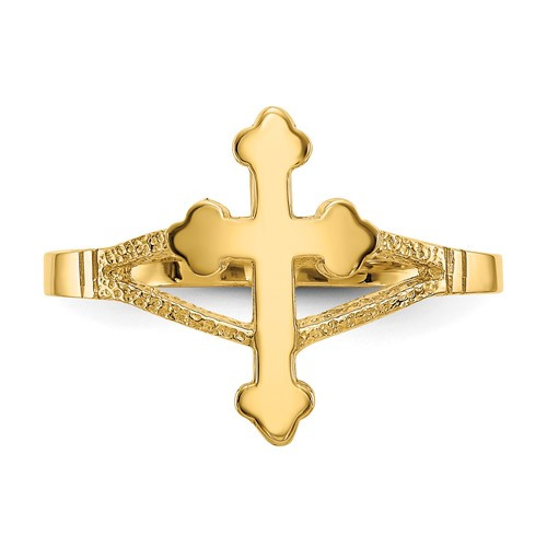 14KYG Polished Cross Ring