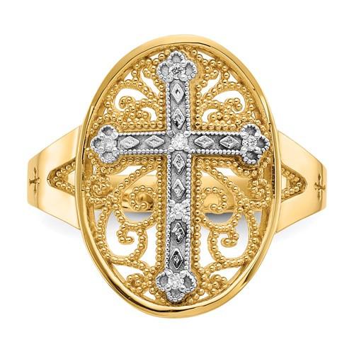 14KYG & 14KWG Diamond Filigree Cross Ring